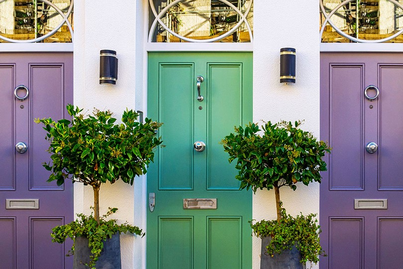 Purple And Green Doors